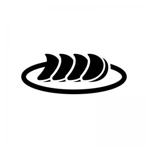 ギョウザのシルエット02 無料のaipng白黒シルエットイラスト