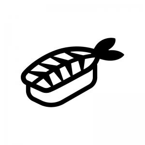 エビの握り寿司の白黒シルエットイラスト