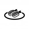 エビの握り寿司の白黒シルエットイラスト02
