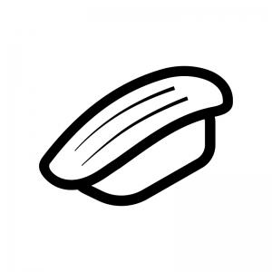 イカの握り寿司の白黒シルエットイラスト