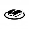 マグロの握り寿司の白黒シルエットイラスト02