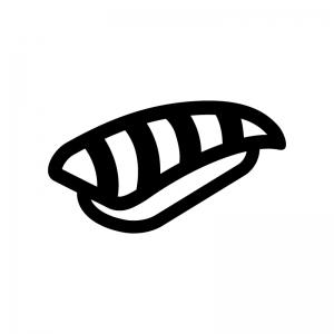 大トロの握り寿司の白黒シルエットイラスト