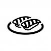 大トロの握り寿司の白黒シルエットイラスト02