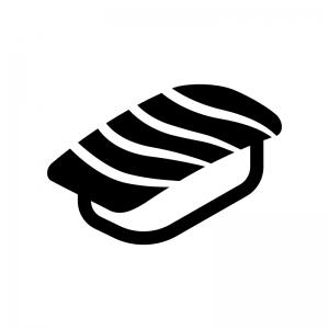 トロ・サーモンの握り寿司の白黒シルエットイラスト02