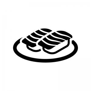 トロ・サーモンの握り寿司の白黒シルエットイラスト03