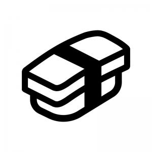 玉子の握り寿司の白黒シルエットイラスト02