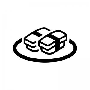 玉子の握り寿司の白黒シルエットイラスト03