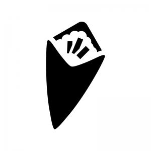 手巻き寿司の白黒シルエットイラスト