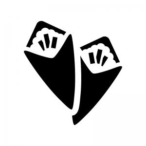 手巻き寿司の白黒シルエットイラスト02