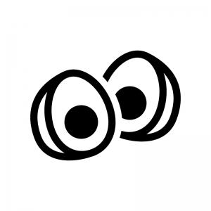 ゆで卵の白黒シルエットイラスト03