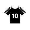 サッカーのユニフォームの白黒シルエットイラスト