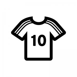 サッカーのユニフォームの白黒シルエットイラスト02