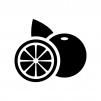 グレープフルーツの白黒シルエットイラスト