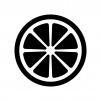 グレープフルーツの断面図の白黒シルエットイラスト02
