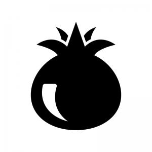 ザクロの白黒シルエットイラスト
