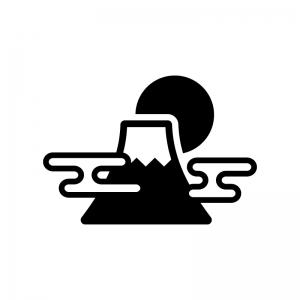 富士山と日の出の白黒シルエットイラスト02