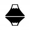 逆さ富士の白黒シルエットイラスト