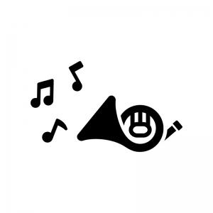 ホルンと音符の白黒シルエットイラスト