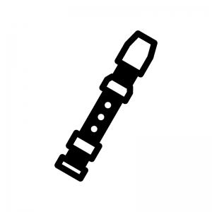 リコーダーの白黒シルエットイラスト
