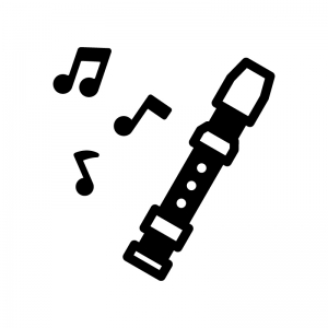 リコーダーと音符の白黒シルエットイラスト