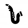 サクソフォーン(サックス)の白黒シルエットイラスト