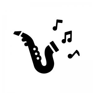 サクソフォーン(サックス)と音符の白黒シルエットイラスト
