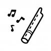 縦笛と音符の白黒シルエットイラスト