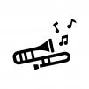 トロンボーンと音符の白黒シルエットイラスト