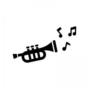 トランペットと音符の白黒シルエットイラスト