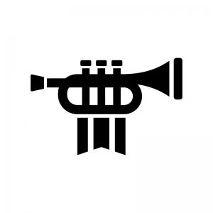 旗の付いたトランペットの白黒シルエットイラスト