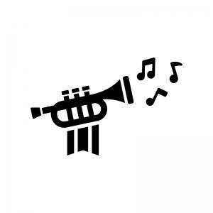 旗の付いたトランペットと音符の白黒シルエットイラスト