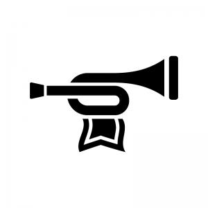 旗の付いたトランペットの白黒シルエットイラスト02