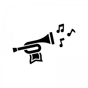 旗の付いたトランペットと音符の白黒シルエットイラスト02