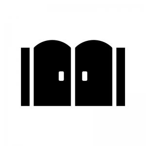 門の白黒シルエットイラスト