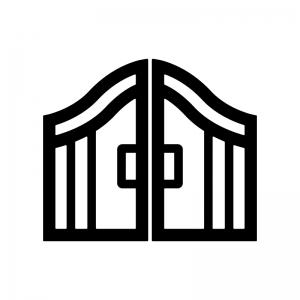 門の白黒シルエットイラスト02