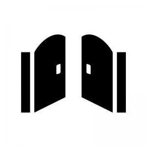 開いた門の白黒シルエットイラスト