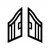 開いた門の白黒シルエットイラスト02