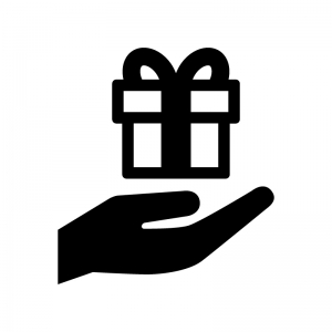 プレゼントを贈る白黒シルエットイラスト02