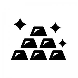 金塊の白黒シルエットイラスト