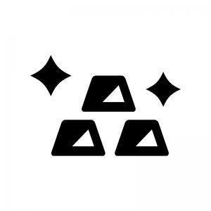 金塊の白黒シルエットイラスト02