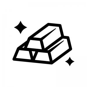 金塊の白黒シルエットイラスト03