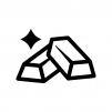 金塊の白黒シルエットイラスト04