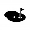 ゴルフのグリーンの白黒シルエットイラスト02