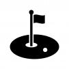 ゴルフのグリーンの白黒シルエットイラスト03