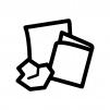紙くず・燃えるゴミの白黒シルエットイラスト02