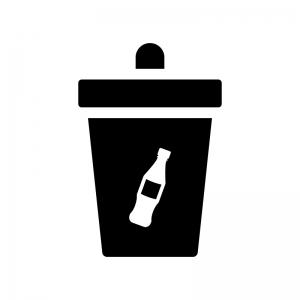 ペットボトルのゴミ箱の白黒シルエットイラスト