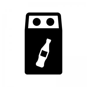 ペットボトルのゴミ箱の白黒シルエットイラスト02