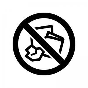 紙くず・燃えるゴミを捨るの禁止の白黒シルエットイラスト02