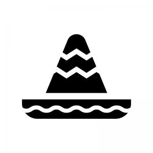 ソンブレロの白黒シルエットイラスト02