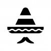 ソンブレロと髭の白黒シルエットイラスト